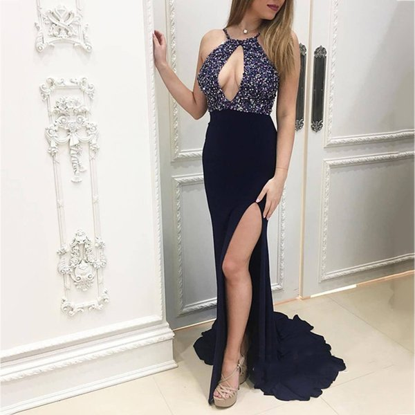 Sexy Halter Backless Mermaid Long Prom Dresses 2018 Special Crystal Beaded Side Split Evening Party Dress Formal Prom Gowns Custom Made