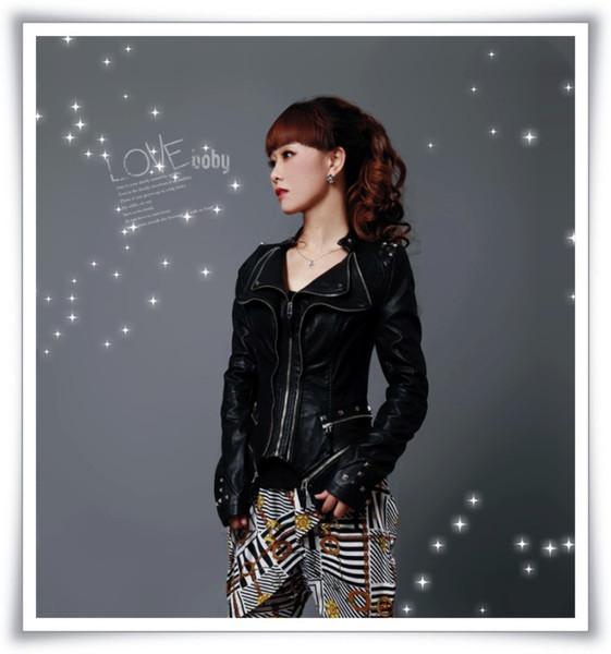 Wholesale-New Womens Punk Spike Studded Shoulder PU Leather Jacket Zipper Coat Size s XL