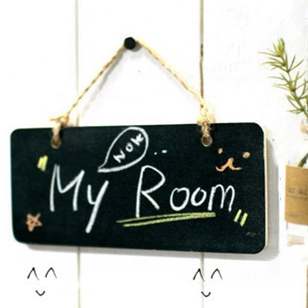 1PC Convenient Vintage Chic Wedding Hanging Wood Mini Blackboard Message Label Memo Sign Home Party Decoration