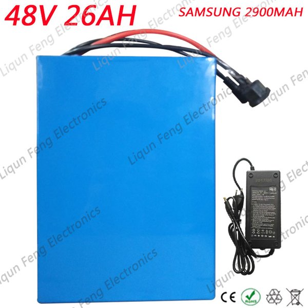 2000W 48V 26AH Electric Bicycle battery 48V 26AH 48 Volt Scooter Battery Use for Samsung 2900mah cell 50A BMS 2A Charger