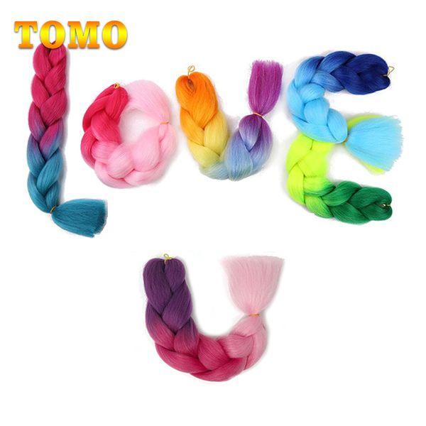TOMO Kanekalon synthétique Tressage cheveux 24 pouces 100g Ombre 1/2/3/4 tons couleur xpression Jumbo Braid Crochet Braids Extensions de cheveux