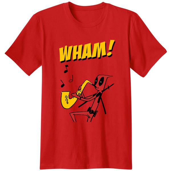 Deadpool Dikkatsiz Fısıltı Erkekler Unisex Tees T Shirt klasik Yenilik Sax WHAM marvel saxaphone müzisyen Filmler band Casual Tops