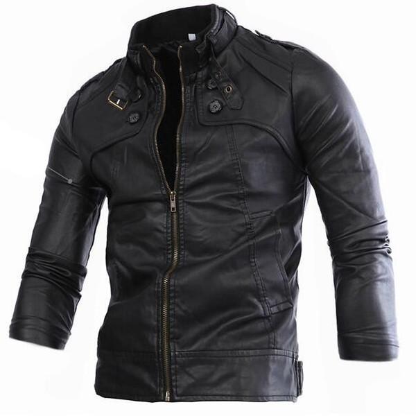 Marka giyim 2016 Yeni Siyah Kahverengi erkek Deri Ceket Erkekler Motosiklet Ceket Erkekler Slim Fit Fermuar Ceketler Jaqueta Masculinas