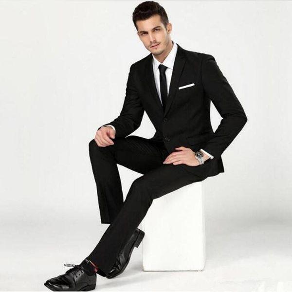 Custom black new men's suit two-piece suit (jacket + pants) men's business formal suit wedding groom groomsmen dress