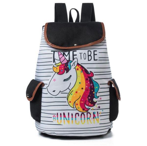Cheap price factory selfdesign unicorn flamingo animal printed Polyester Nylon fashion women bag students' school bags travel backpack