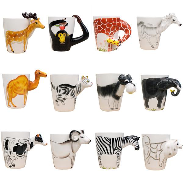 Potente taza de té de leche de cerámica regalo creativo Forma de animal 3d mano pintada ciervos jirafa Conejo de vaca gato de perro Camel Elephant Cup