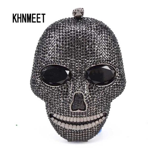 Crânio artesanal preto de cristal mulheres sacos de noite sacos de presente de Dia Das Bruxas de luxo diamante senhoras bolsas partido Clutch purse SC027