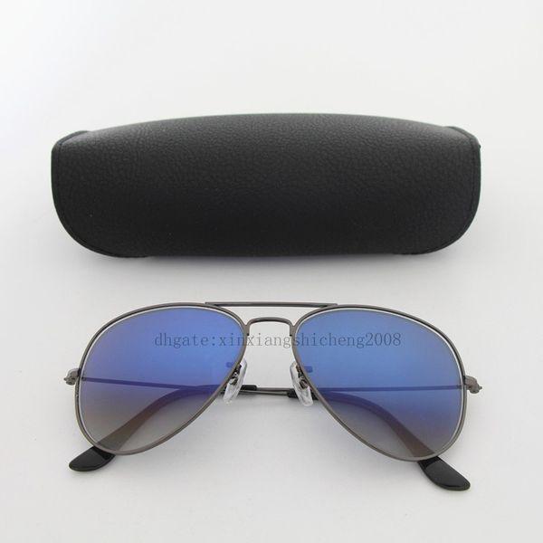 Free shipping 1pcs Hot Sale Yindot Mens Womens Pilot Gradient UV400 Sunglasses Designer Sun Glasses Grey/Blue 58mm Glass Lenses come box