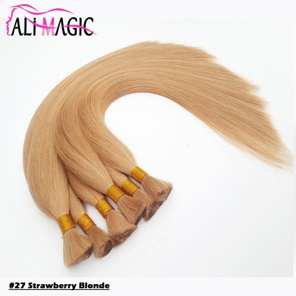 "best selling Strawberry Blonde Human Bulk Hair For Braiding 18""20""22""24"" Remy Straight European Hair 100% Natural Raw Hair #22 #27 12color Optional"