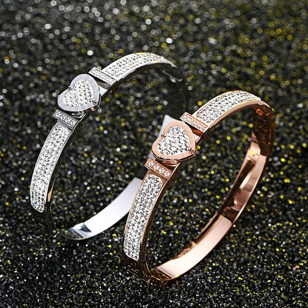 Fashion Women Heart Full Diamond Bracelet 3 Colors 18K Rose Gold Bangle For Daily Wearing Best Gifts For Party, Anniversary