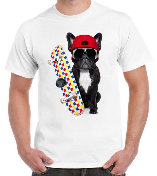 Французский бульдог скейтбордист смешные Мужские футболки - бульдоги подарок Подарок собака