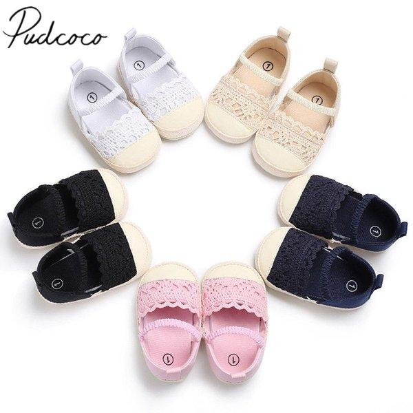 Newborn Infant New Baby Prewalker Shoes Sole Girls Striped Toddler Soft 2018 Crib Brand Knit Baby Crochet Flower Shoes 0-18M