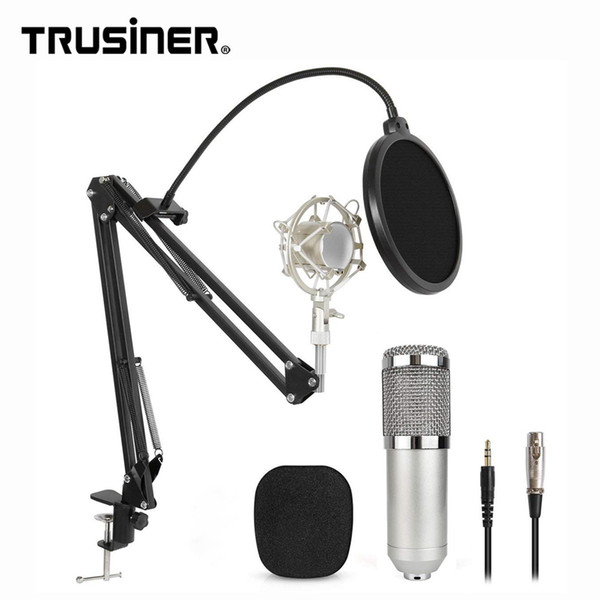 Newest BM800 BM 800 Studio Recording Condenser Mic Microphone with Suspension Arm Stand Shock Mount and Pop Filter for PC Laptop Computer