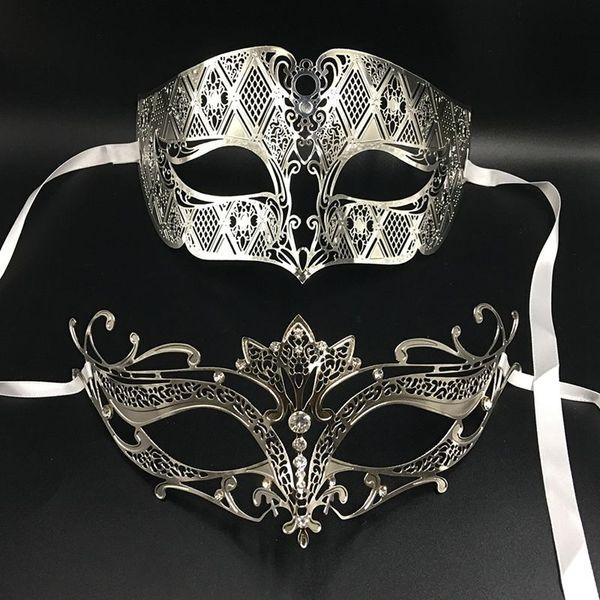 Gold Phantom Lovers Prom Metal Venetian Masquerade Party Couple Masks Set  Mardi Gras Wedding Costume Eye