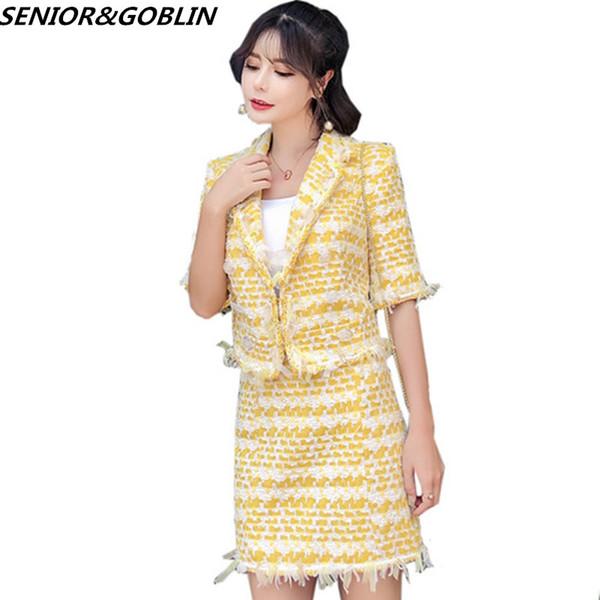 Damen Runway Designer Wolle TTwo Stück Set Frauen Gelb Elegant gekerbten Kragen gestreift kurze Jacke Coat + Pencil Rock Anzug