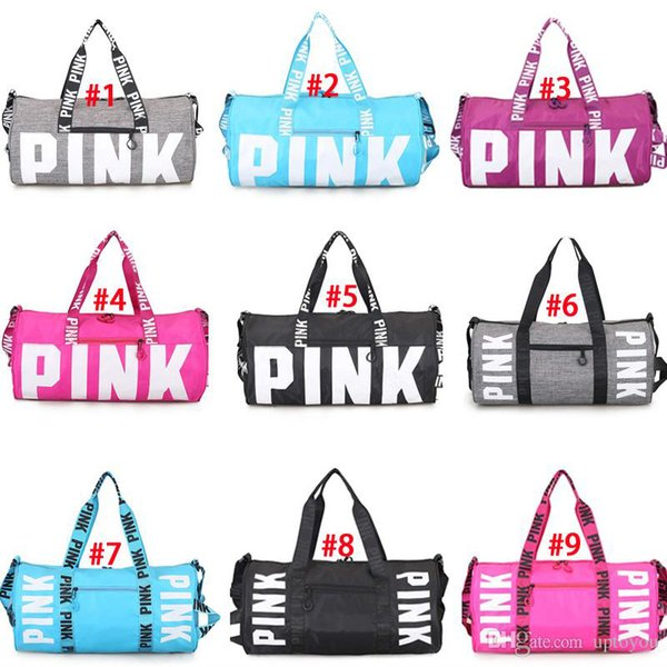 7f2e28ca23 9 Colors Girls Women Fashion Handbags Pink Letter Large Capacity Travel  Duffel Striped Flower Printed Beach
