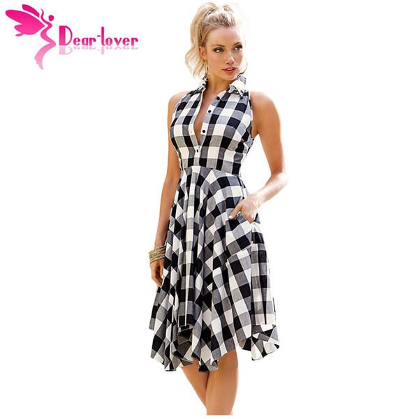 Compre Dear Lover Vestidos A Cuadros Moda Casual Summer Office Ladies Azul Negro Blanco Gris Cuadros Acampanados Camisa Robe Femme Lc61513 A 2111