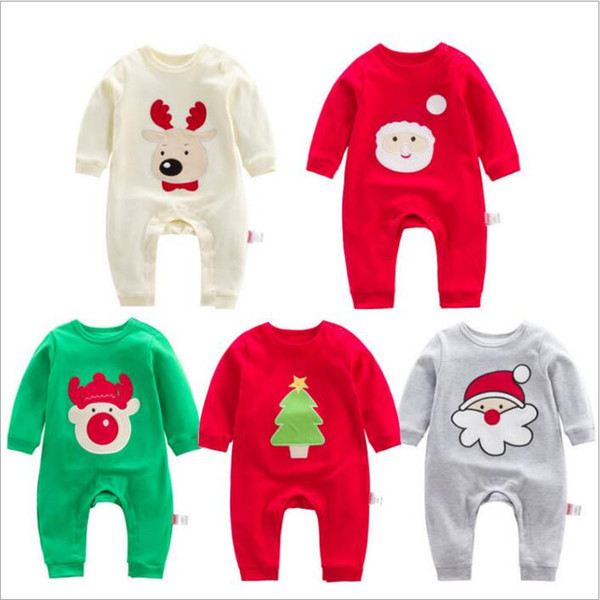 Baby Clothes Girls Christmas Rompers Toddler Santa Claus Jumpsuits Infant Cotton Long Sleeve Onesies Cartoon Rompers Kids Clothing B3476