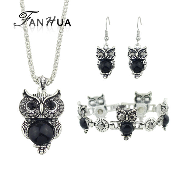 FANHUA Ethnic Jewelry Sets Antique Silver Color Chain Red Black Beads Owl Pendant Necklace Owl Drop Earrings Charm Bracelet