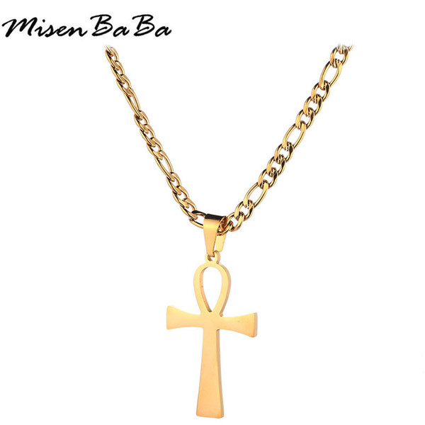 New Silver Gold Stainless Steel Figaro Chain Blank Ankh Necklace For Men Male Necklaces Cross Choker Collar Egyptian Jewelry