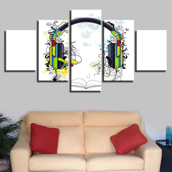 Modern Printing Framework Pictures 5 Pieces Music Color Earphone Modular Canvas Paintings Decor Living Room Or Bedroom Wall Art