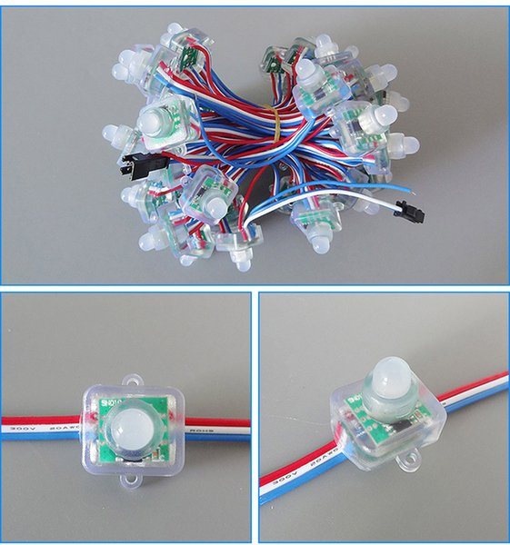 12mm WS2811 풀 컬러 사각형 RGB LED 픽셀 모듈 DC5V IP68 방수 점 등판 광고