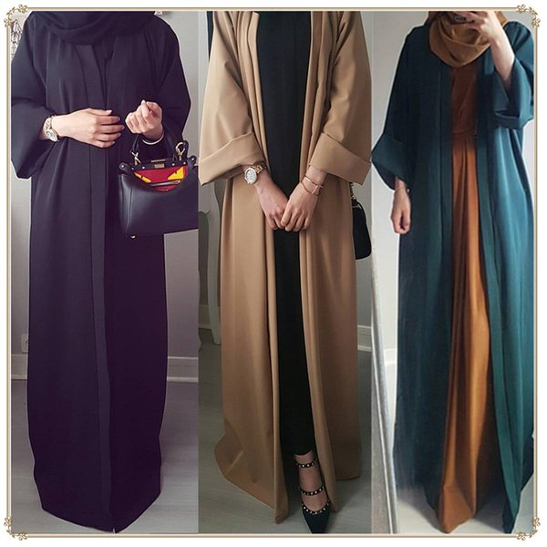 top popular 2019 New Arrival Muslim Women Long Sleeve Open Abaya Plus Size Islamic Women Solid Color Jilbab Dress 2021