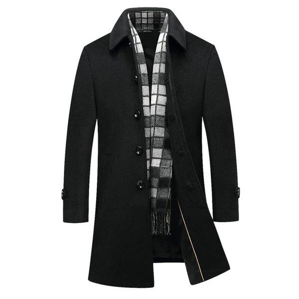 Men's Wool Coat Long Section Trench Jacket 2018 Autumn Winter Business Casual Slim Fit Woolen Coats Men Peacoat Hombre Overcoat