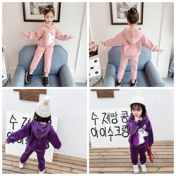 2pcs/set Baby girls unicorn outfits children Kids Hooded Hoodie top+pants Autumn Velvet suit kids Clothing Set AAA1386