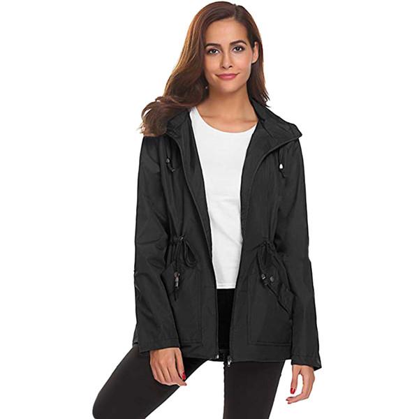 FeiTong Jacket Women autunno Giacca a vento esterno impermeabile leggero impermeabile con cappuccio soprabito giacche giacca antipioggia