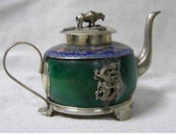 design Collection Tibetan Silver chinese tibet Silver green jade dragon teapot shipping tools wedding Decoration Brass