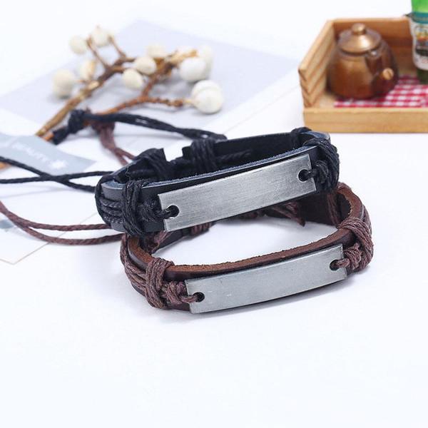 Venta al por mayor Nueva Cool Punk pulsera de cuero genuino brazalete de la pulsera en blanco pulseras del encanto del metal envío gratis