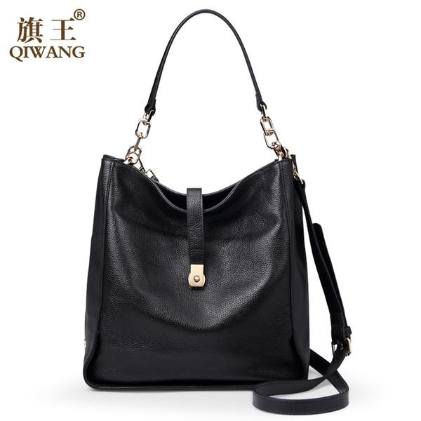 Suave Oro Bolsa Cuero Hobo Qiwang Mujeres Genuino Compre Negro 8qEgOx6