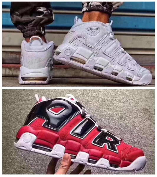 2018 Air More Uptempo Women Mens Basketball Shoes, High Quality Tri Color Scottie Pippen PE Triple White Athletic Sport Sneakers Athletic Shoes Kids