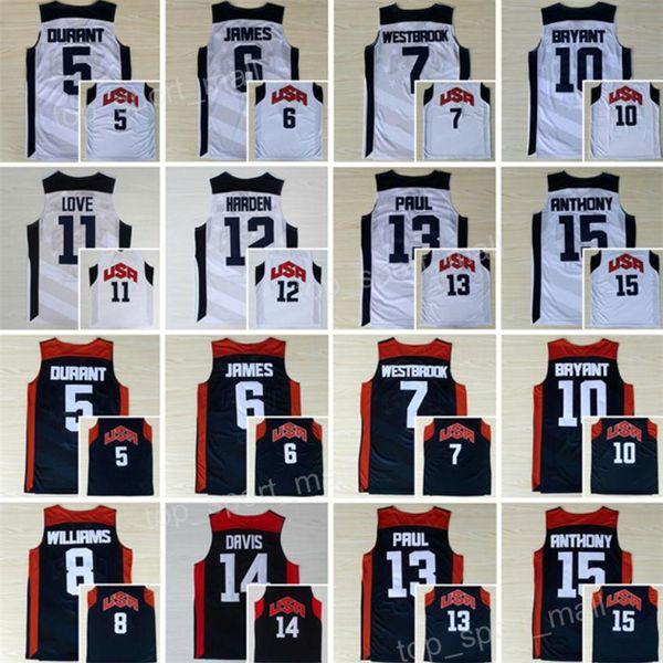 Maglia da basket 2012 Dream Team Kevin Durant LeBron James Harden 10 Kobe Bryant Chris Paul Kevin Love Anthony Williams Westbrook Davis