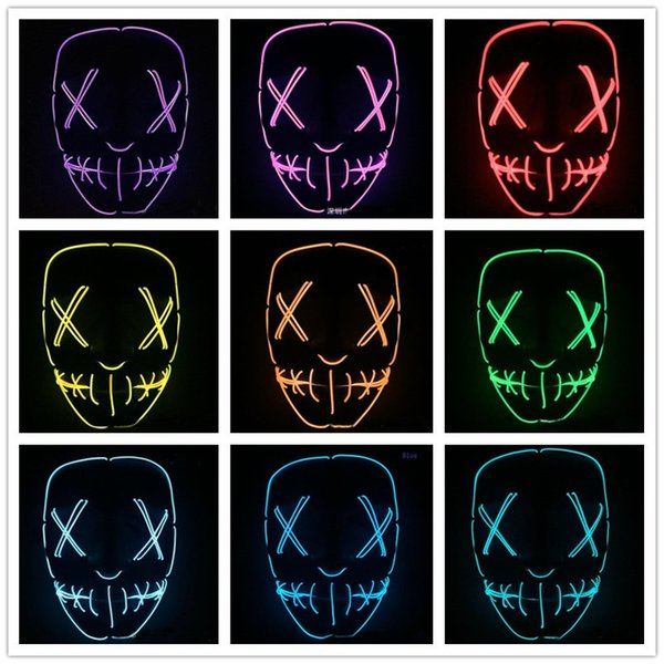 LED Halloween Ghost Masks EL Wire Slit Mouth Light Up Glowing Scary Horror Masquerade Mask Cosplay Costumes Party Full Face Masks