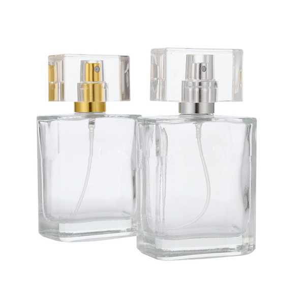 Bottiglia vuota di vetro di profumo di 50ml Atomizzatore Bottiglia di vetro di spruzzo riutilizzabile Bottiglia quadrata del profumo Trasporto veloce F1106