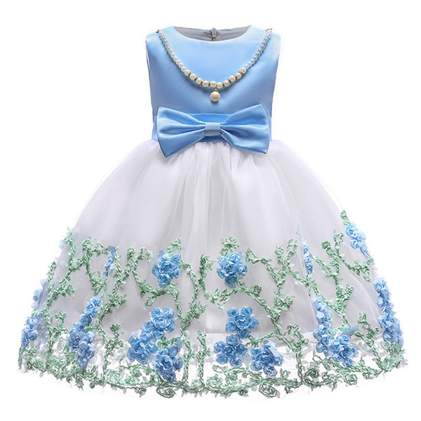 Princess White Lace Flower Girl Dresses For Wedding necklace appliques First Communion Birthday Party Dresses Girls Pageant Dress 2018