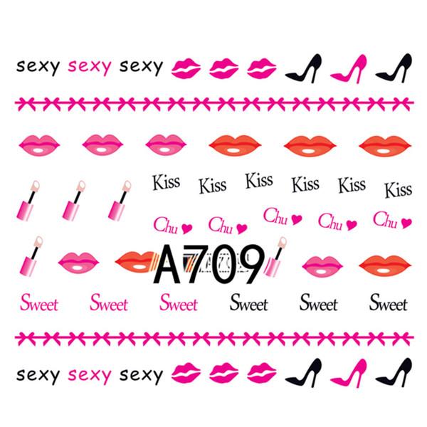1 Sheet Water Transfer Nail Art Sticker Sexy Lips Prints Lipstick Heart Moustache High Heeled Shoe Hat Manicure DIY Decal New