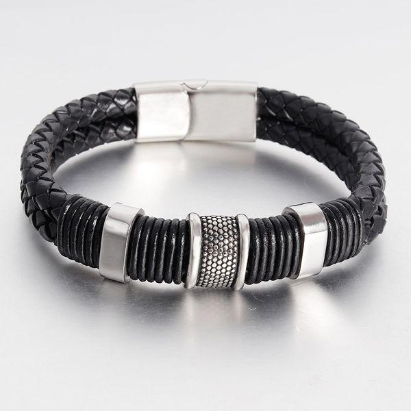 2018 Retro fashionable personality braided bracelet genuine leather bracelet male magnet buckle bracelet