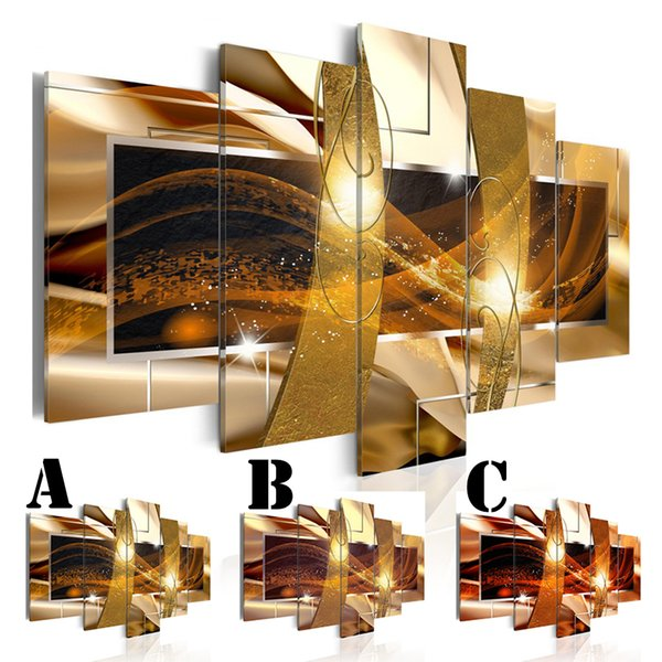 Wall Art Picture Printed Oil Painting on Canvas No Frame Multi-picture Combination Golden Wave 5pcs/set Home Decor Extra Mirror Border