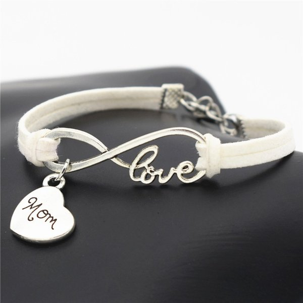 Handmade Fashion Silver Infinity Love Mom Sister Daughter Heart Bracelet Bangles Women Men White Leather Suede Rope Charm Party Jewelry Gift