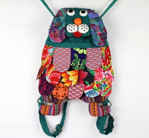11 Colors Chinese Ethnic Character Handmade Cotton Dog Backpacks Children Package Kids Girls Fashion School Dog Bags
