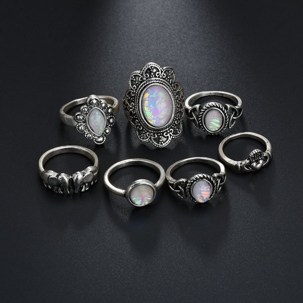 Boho 7Pcs Vintage Silver Elephant Finger Natural Gemstone Moonstone Ring Crystal Knuckle Joint Nail Ring Set For Women Jewelry Gifts H409R