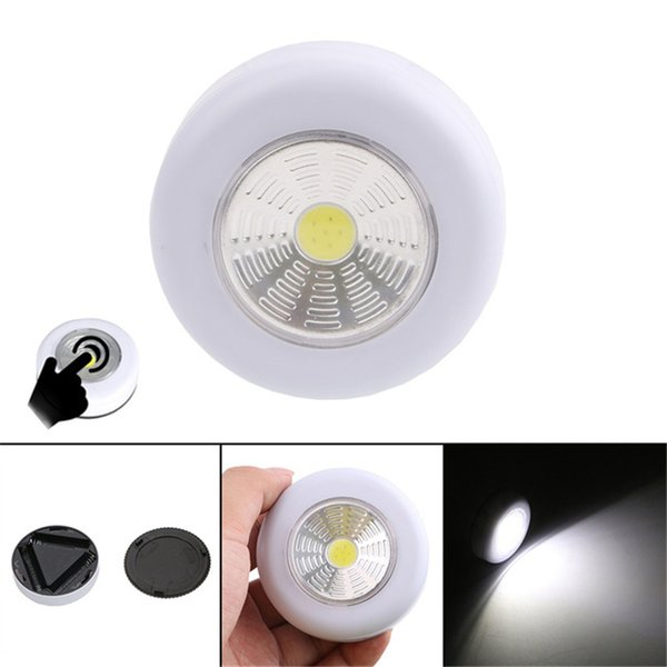 best selling COB LED Night Light Wardrobe Touch Light Lamp 3W Battery Powered Kitchen Cabinet Closet Push Tap Home Stick On Lamp