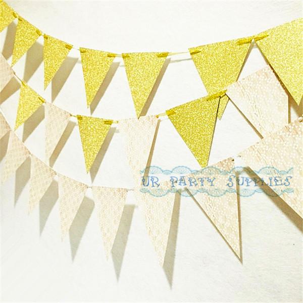 10 sets Gold White Party Garland Wedding Decor Sparkling Gold Event Baptism Banner Neutral Baby Shower Metallic Garland