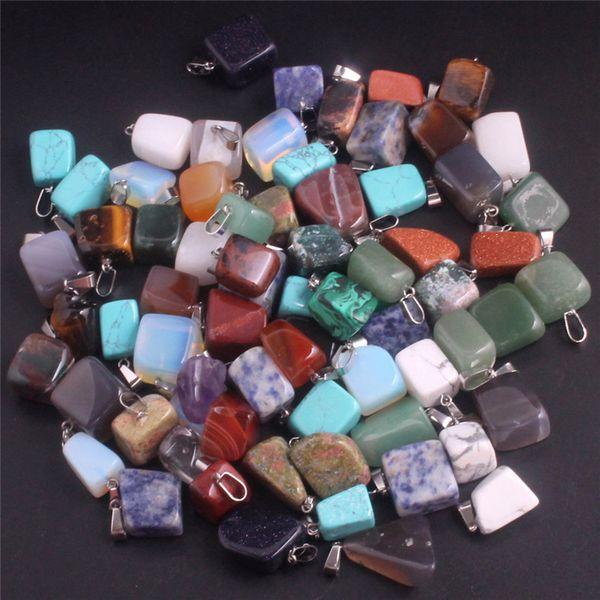 Pendentifs en pierre naturelle jade irrégulière charmes de pierre naturelle pendentif agate pierre quartz opale bijoux