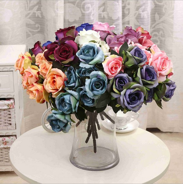 Chenflowers 7 cabezas Rose Flowers Seda artificial Rose Flowers Real Touch Rose Wedding Party Home Floral Decor Arreglo floral