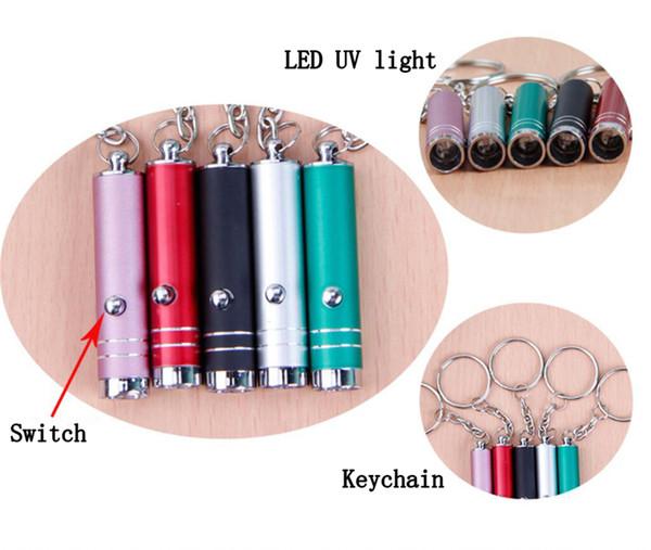 Mini portátil pluma LED luz de la antorcha operación de la batería UV llavero bolsillo pluma linterna para trabajar en el camping