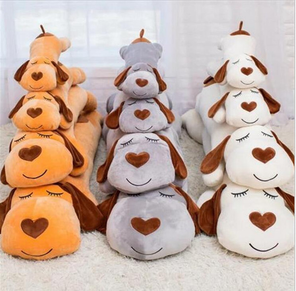 Cute Stripe Lie Prone Papa Dog Plush Toy Stuffed Dolls Sleeping Pillow Cushion Baby Best gifts for Children 3 colors